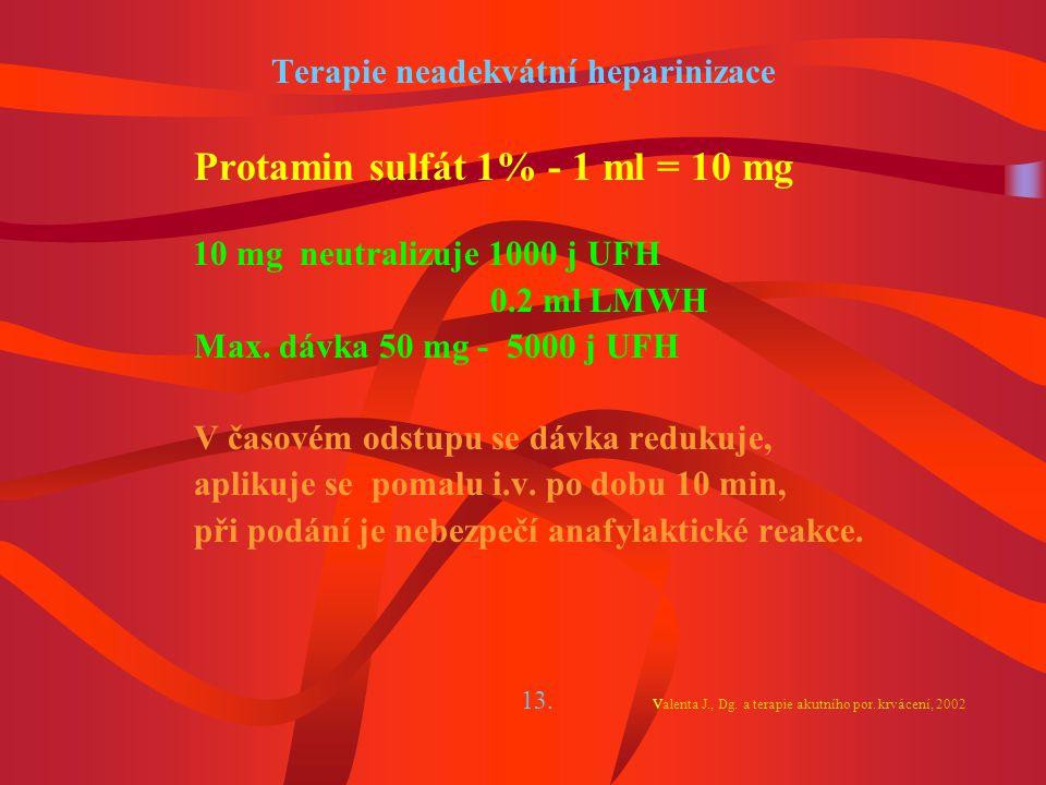 Terapie neadekvátní heparinizace Protamin sulfát 1% - 1 ml = 10 mg 10 mg neutralizuje 1000 j UFH 0.2 ml LMWH Max.