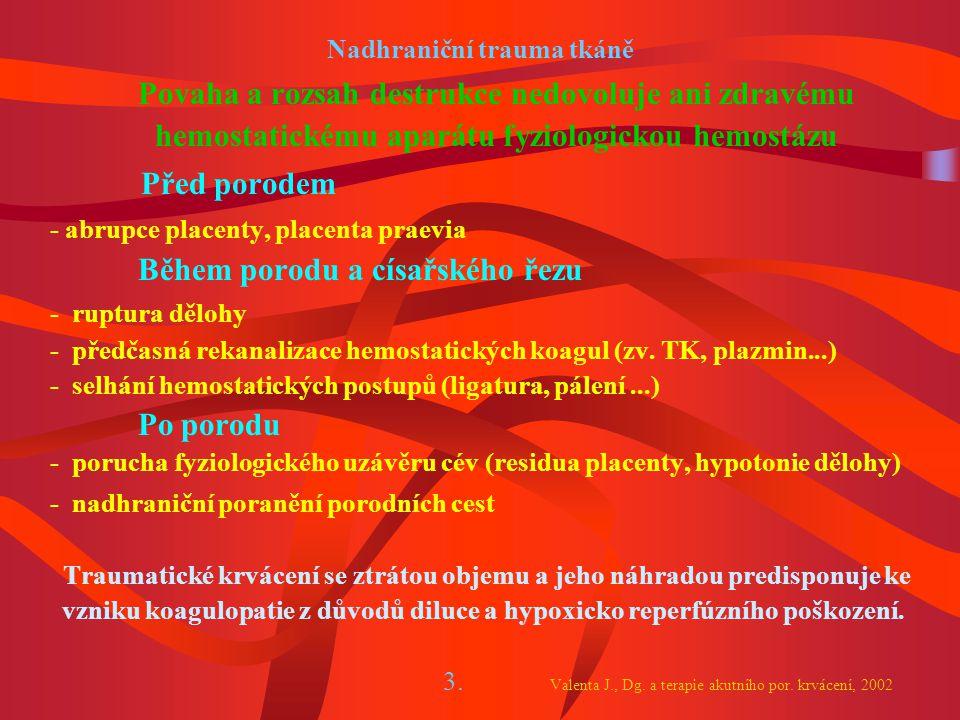 Nadhraniční trauma tkáně Povaha a rozsah destrukce nedovoluje ani zdravému hemostatickému aparátu fyziologickou hemostázu Před porodem - abrupce placenty, placenta praevia Během porodu a císařského řezu - ruptura dělohy - předčasná rekanalizace hemostatických koagul (zv.