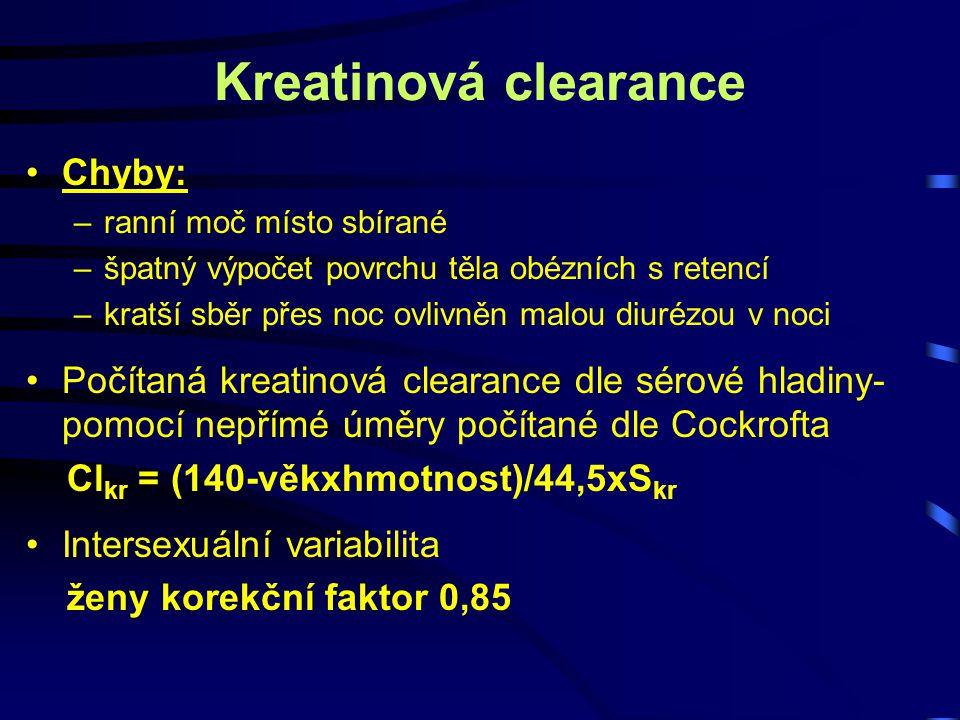 Kreatinová clearance Chyby: –ranní moč místo sbírané –špatný výpočet povrchu těla obézních s retencí –kratší sběr přes noc ovlivněn malou diurézou v n