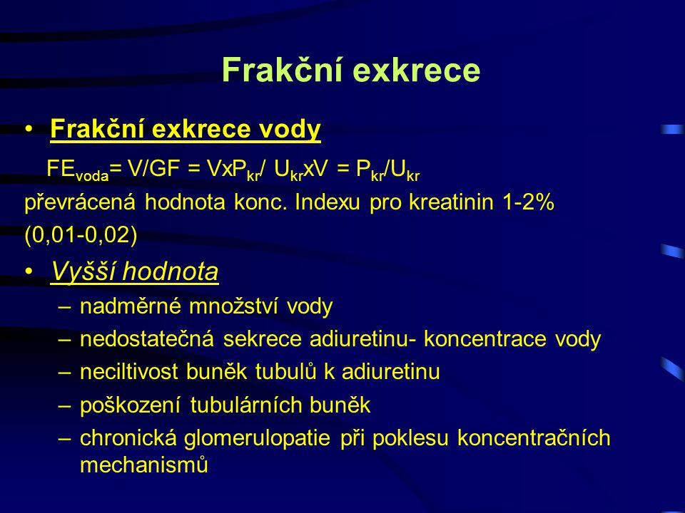 Frakční exkrece Frakční exkrece vody FE voda = V/GF = VxP kr / U kr xV = P kr /U kr převrácená hodnota konc. Indexu pro kreatinin 1-2% (0,01-0,02) Vyš
