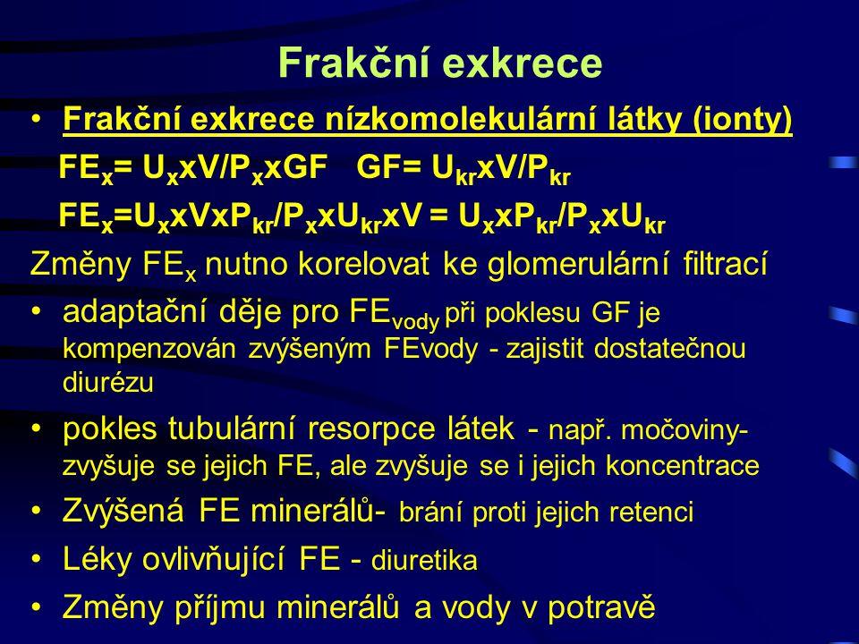Frakční exkrece Frakční exkrece nízkomolekulární látky (ionty) FE x = U x xV/P x xGF GF= U kr xV/P kr FE x =U x xVxP kr /P x xU kr xV = U x xP kr /P x