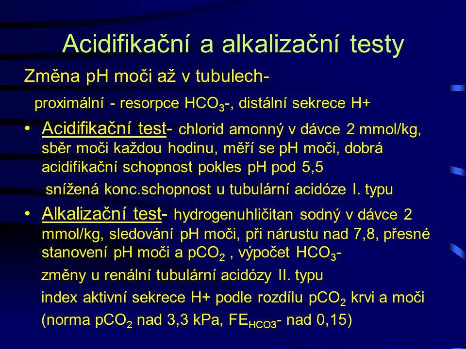 Acidifikační a alkalizační testy Změna pH moči až v tubulech- proximální - resorpce HCO 3 -, distální sekrece H+ Acidifikační test- chlorid amonný v d