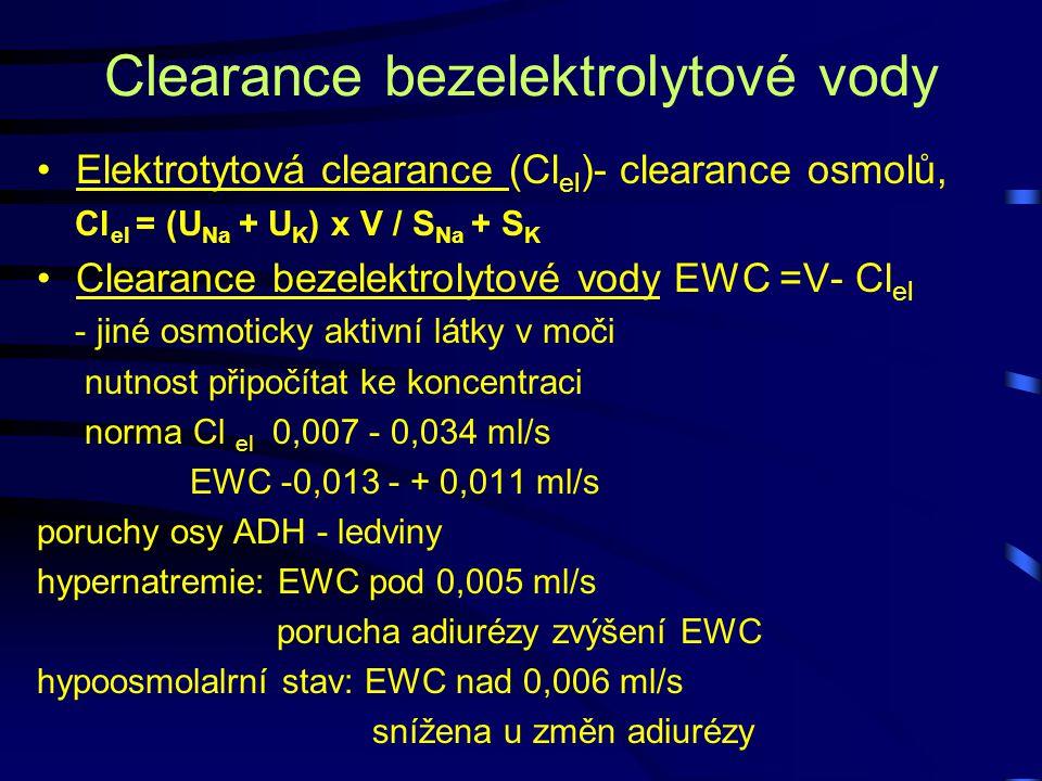 Clearance bezelektrolytové vody Elektrotytová clearance (Cl el )- clearance osmolů, Cl el = (U Na + U K ) x V / S Na + S K Clearance bezelektrolytové