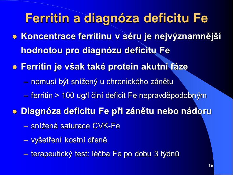 16 Ferritin a diagnóza deficitu Fe l Koncentrace ferritinu v séru je nejvýznamnější hodnotou pro diagnózu deficitu Fe l Ferritin je však také protein
