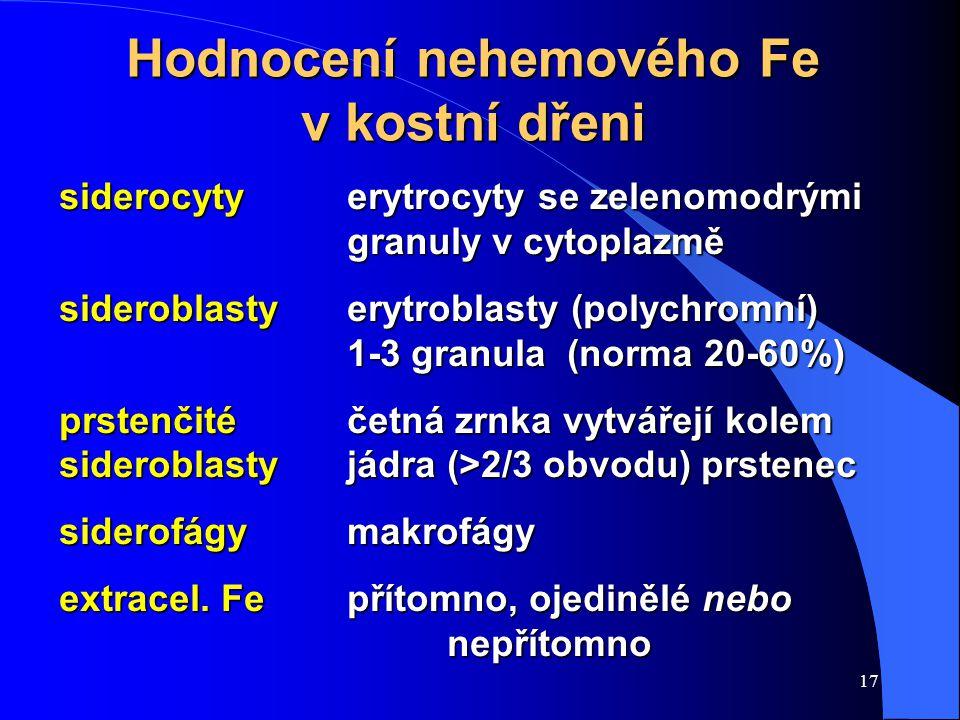17 Hodnocení nehemového Fe v kostní dřeni siderocyty erytrocyty se zelenomodrými granuly v cytoplazmě sideroblastyerytroblasty (polychromní) 1-3 granula (norma 20-60%) prstenčité četná zrnka vytvářejí kolem sideroblastyjádra (>2/3 obvodu) prstenec siderofágymakrofágy extracel.