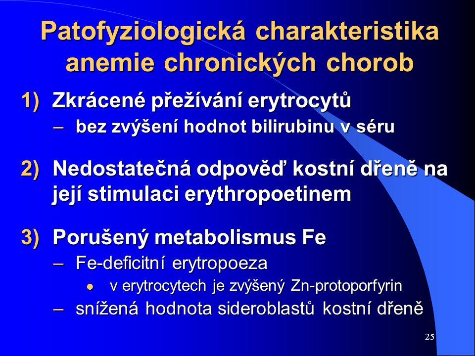 25 Patofyziologická charakteristika anemie chronických chorob 1)Zkrácené přežívání erytrocytů –bez zvýšení hodnot bilirubinu v séru 2)Nedostatečná odpověď kostní dřeně na její stimulaci erythropoetinem 3)Porušený metabolismus Fe –Fe-deficitní erytropoeza l v erytrocytech je zvýšený Zn-protoporfyrin –snížená hodnota sideroblastů kostní dřeně