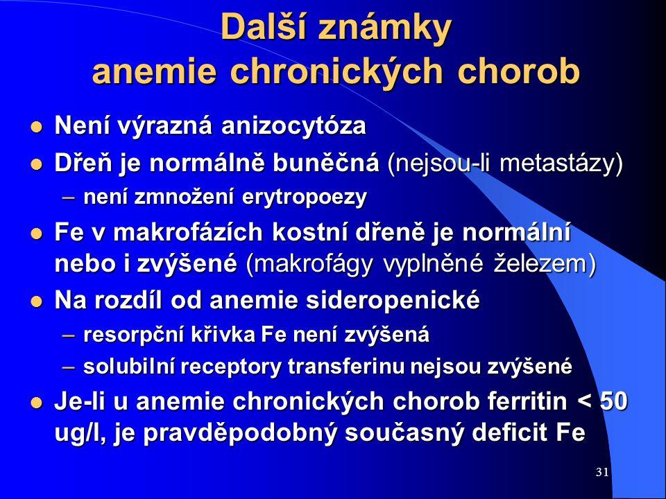 31 Další známky anemie chronických chorob l Není výrazná anizocytóza l Dřeň je normálně buněčná (nejsou-li metastázy) –není zmnožení erytropoezy l Fe v makrofázích kostní dřeně je normální nebo i zvýšené (makrofágy vyplněné železem) l Na rozdíl od anemie sideropenické –resorpční křivka Fe není zvýšená –solubilní receptory transferinu nejsou zvýšené l Je-li u anemie chronických chorob ferritin < 50 ug/l, je pravděpodobný současný deficit Fe
