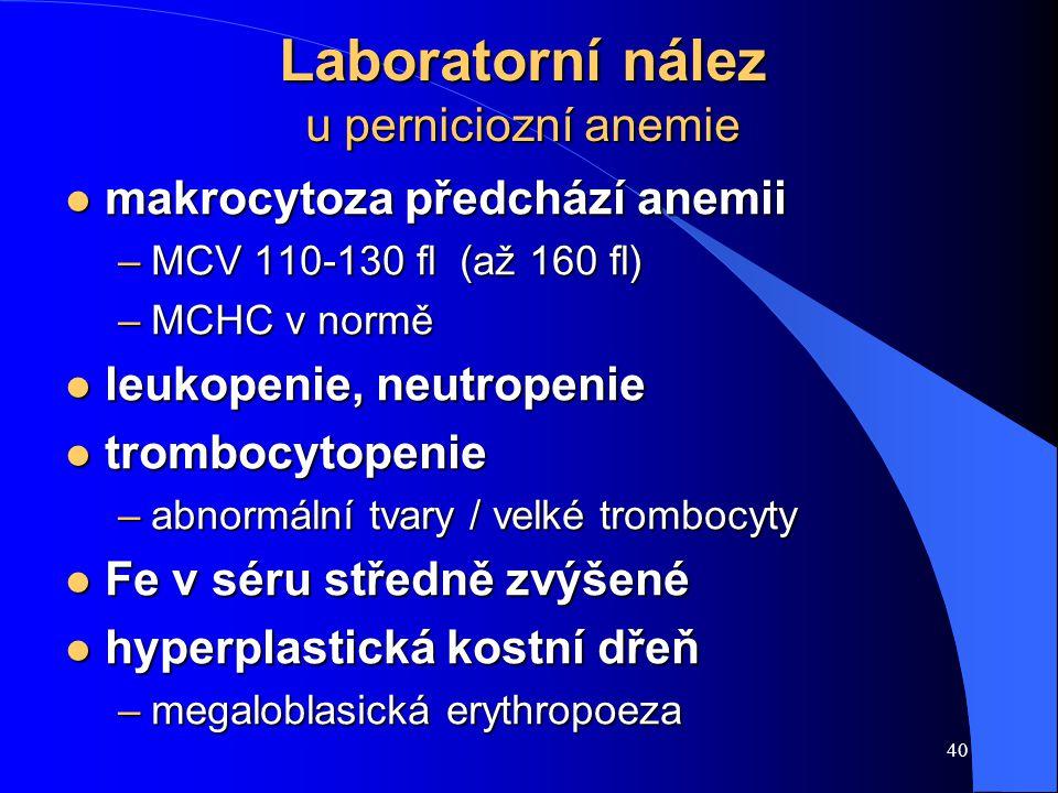 40 Laboratorní nález u perniciozní anemie l makrocytoza předchází anemii –MCV 110-130 fl (až 160 fl) –MCHC v normě l leukopenie, neutropenie l trombocytopenie –abnormální tvary / velké trombocyty l Fe v séru středně zvýšené l hyperplastická kostní dřeň –megaloblasická erythropoeza