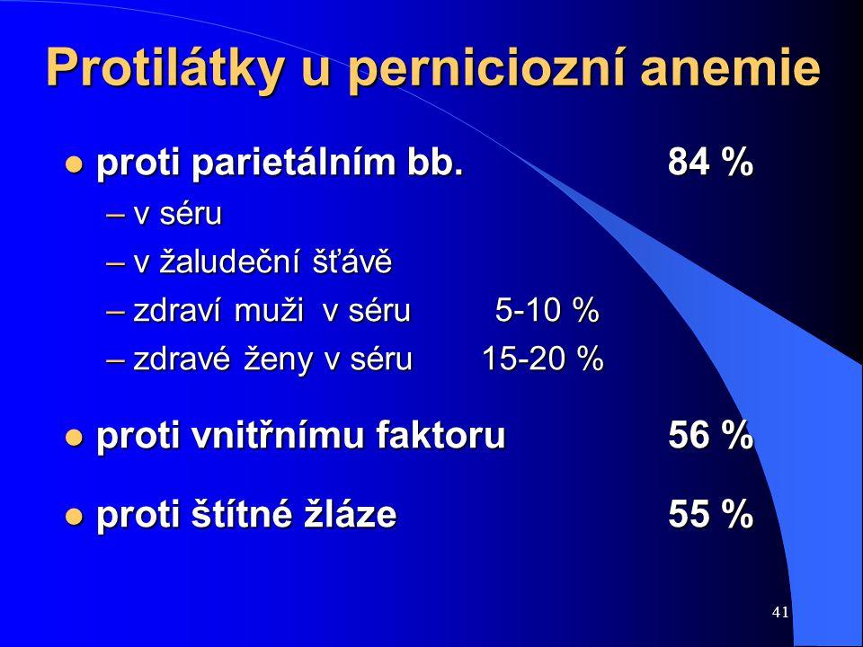 41 Protilátky u perniciozní anemie l proti parietálním bb.84 % –v séru –v žaludeční šťávě –zdraví muživ séru5-10 % –zdravé ženy v séru 15-20 % l proti vnitřnímu faktoru56 % l proti štítné žláze55 %