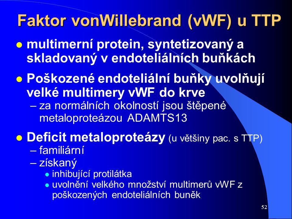 52 Faktor vonWillebrand (vWF) u TTP l multimerní protein, syntetizovaný a skladovaný v endoteliálních buňkách l Poškozené endoteliální buňky uvolňují velké multimery vWF do krve –za normálních okolností jsou štěpené metaloproteázou ADAMTS13 l Deficit metaloproteázy (u většiny pac.