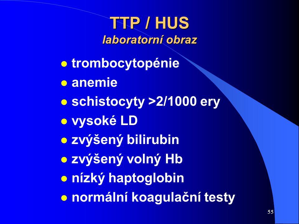 55 TTP / HUS laboratorní obraz l trombocytopénie l anemie l schistocyty >2/1000 ery l vysoké LD l zvýšený bilirubin l zvýšený volný Hb l nízký haptogl