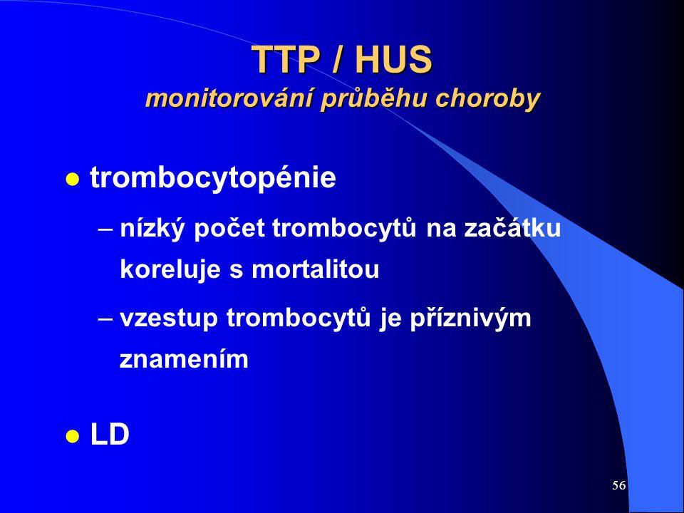 56 TTP / HUS monitorování průběhu choroby l trombocytopénie –nízký počet trombocytů na začátku koreluje s mortalitou –vzestup trombocytů je příznivým znamením l LD