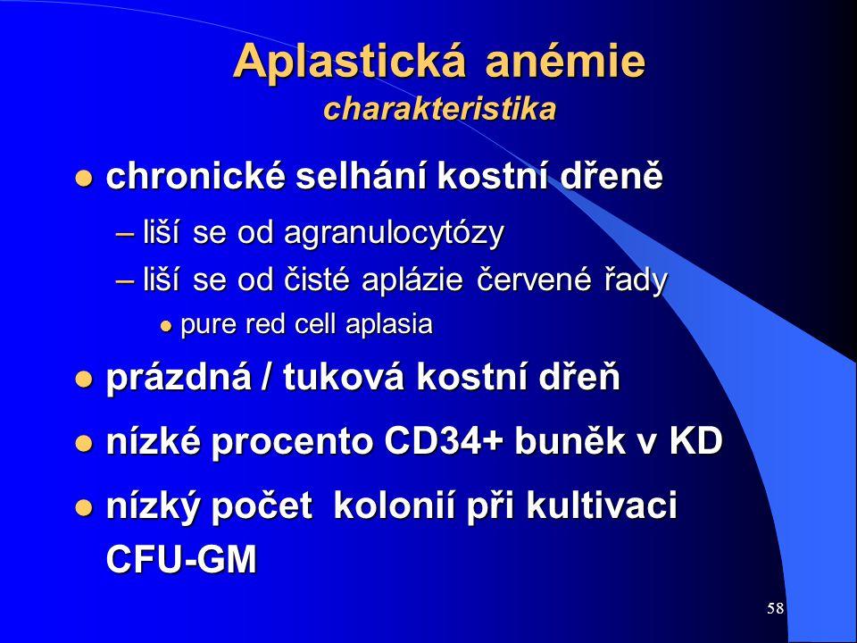 58 Aplastická anémie charakteristika l chronické selhání kostní dřeně –liší se od agranulocytózy –liší se od čisté aplázie červené řady l pure red cell aplasia l prázdná / tuková kostní dřeň l nízké procento CD34+ buněk v KD l nízký počet kolonií při kultivaci CFU-GM