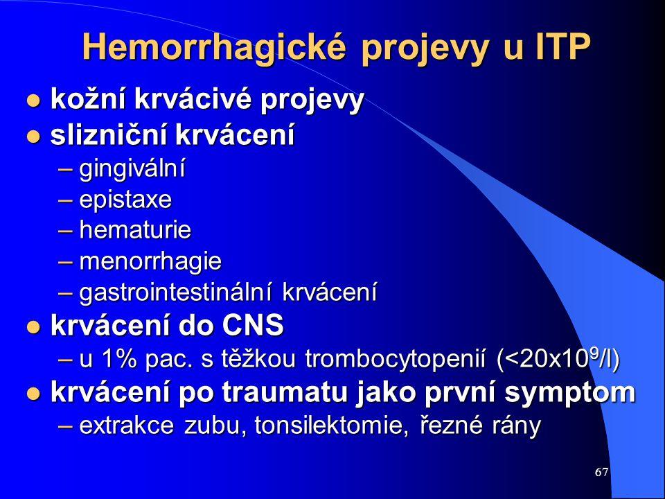 67 Hemorrhagické projevy u ITP l kožní krvácivé projevy l slizniční krvácení –gingivální –epistaxe –hematurie –menorrhagie –gastrointestinální krvácení l krvácení do CNS –u 1% pac.