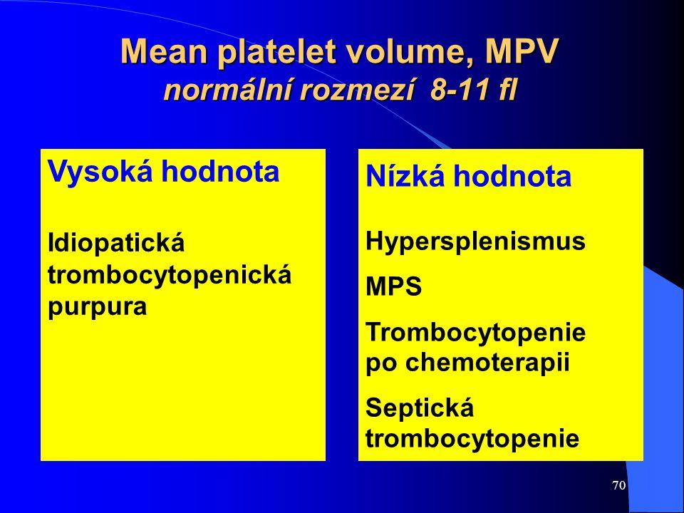 70 Mean platelet volume, MPV normální rozmezí 8-11 fl Vysoká hodnota Idiopatická trombocytopenická purpura Nízká hodnota Hypersplenismus MPS Trombocyt