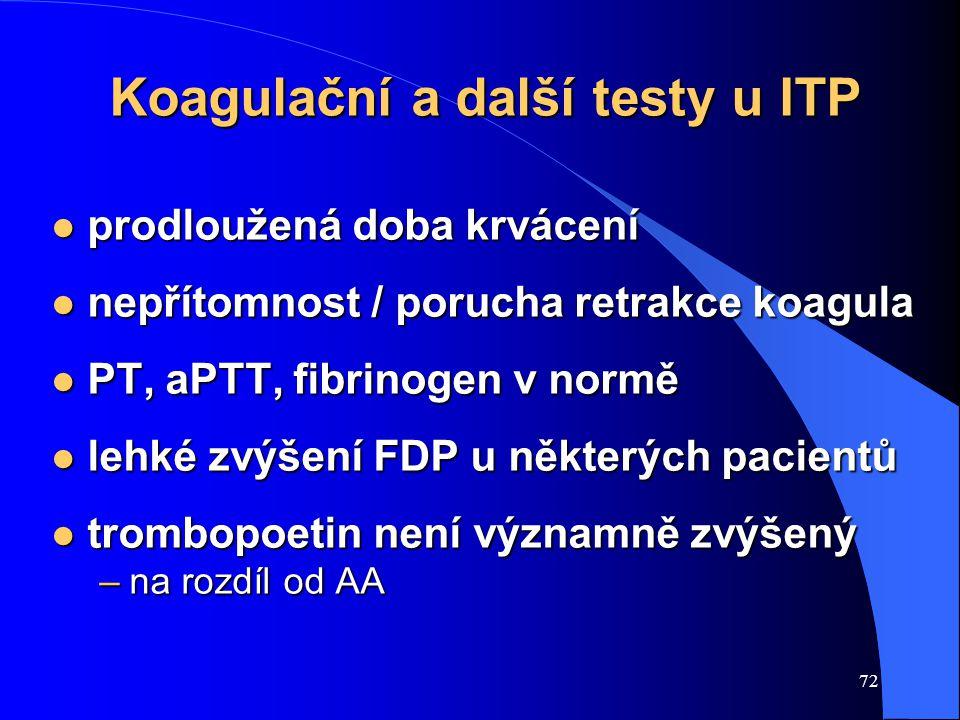 72 Koagulační a další testy u ITP l prodloužená doba krvácení l nepřítomnost / porucha retrakce koagula l PT, aPTT, fibrinogen v normě l lehké zvýšení FDP u některých pacientů l trombopoetin není významně zvýšený –na rozdíl od AA