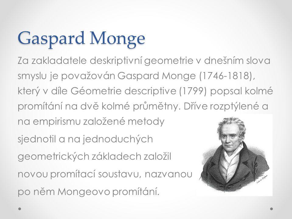 Gaspard Monge Za zakladatele deskriptivní geometrie v dnešním slova smyslu je považován Gaspard Monge (1746-1818), který v díle Géometrie descriptive