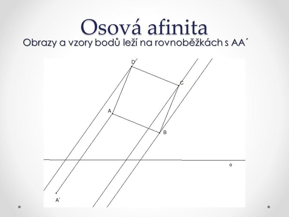 Osová afinita Obrazy a vzory bodů leží na rovnoběžkách s AA´