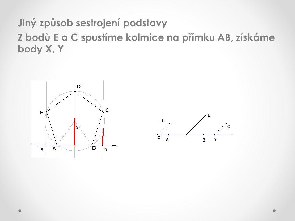 Jiný způsob sestrojení podstavy Z bodů E a C spustíme kolmice na přímku AB, získáme body X, Y