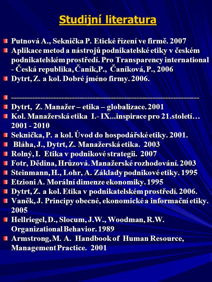Studijní literatura Studijní literatura Putnová A., Seknička P.