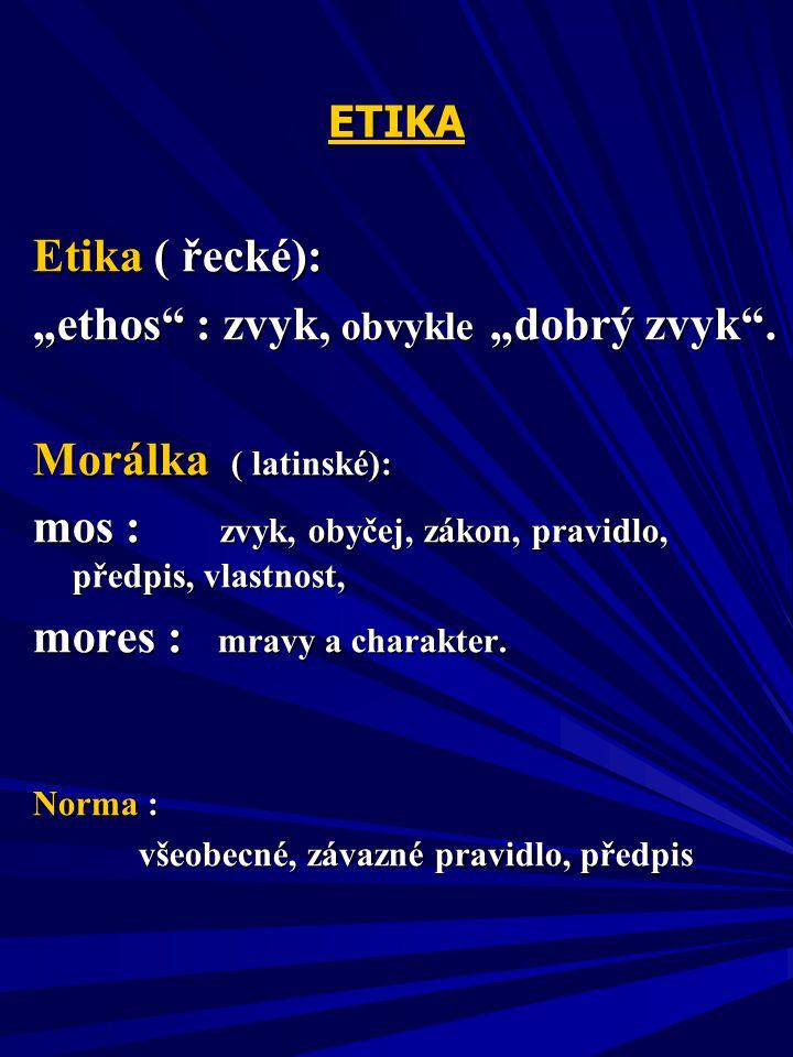"""ETIKA Etika ( řecké): """"ethos : zvyk, obvykle """"dobrý zvyk ."""