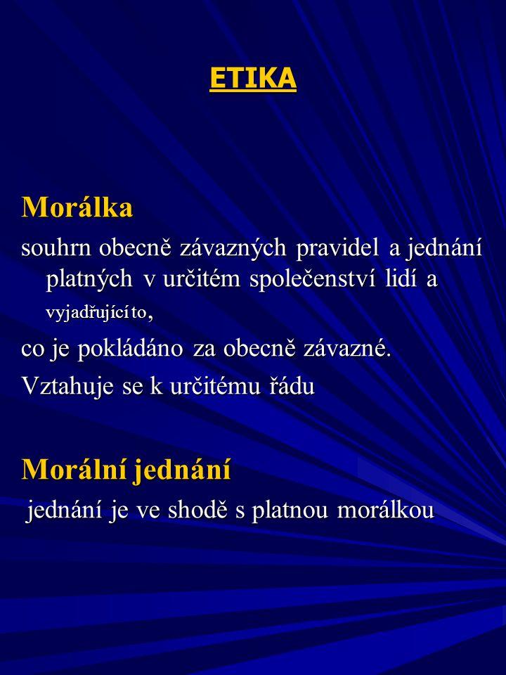 ETIKA Kategorie etiky :  morální hodnoty  morální normy  morální idee