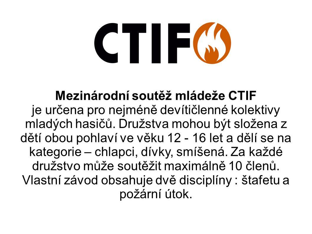 Štafeta CTIF Štafetu o celkové délce 400 metrů provádí devítičlenné družstvo.