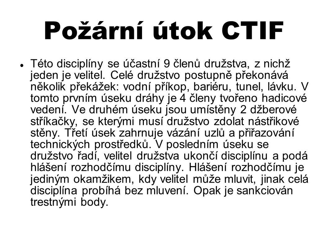 Požární útok CTIF Této disciplíny se účastní 9 členů družstva, z nichž jeden je velitel.