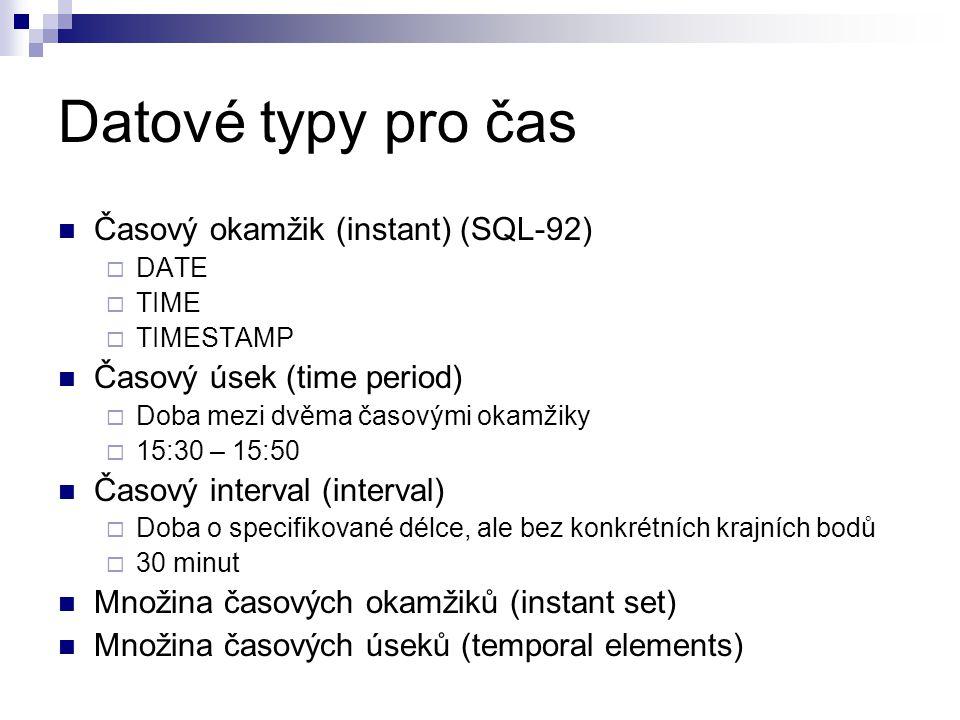 Datové typy pro čas Časový okamžik (instant) (SQL-92)  DATE  TIME  TIMESTAMP Časový úsek (time period)  Doba mezi dvěma časovými okamžiky  15:30