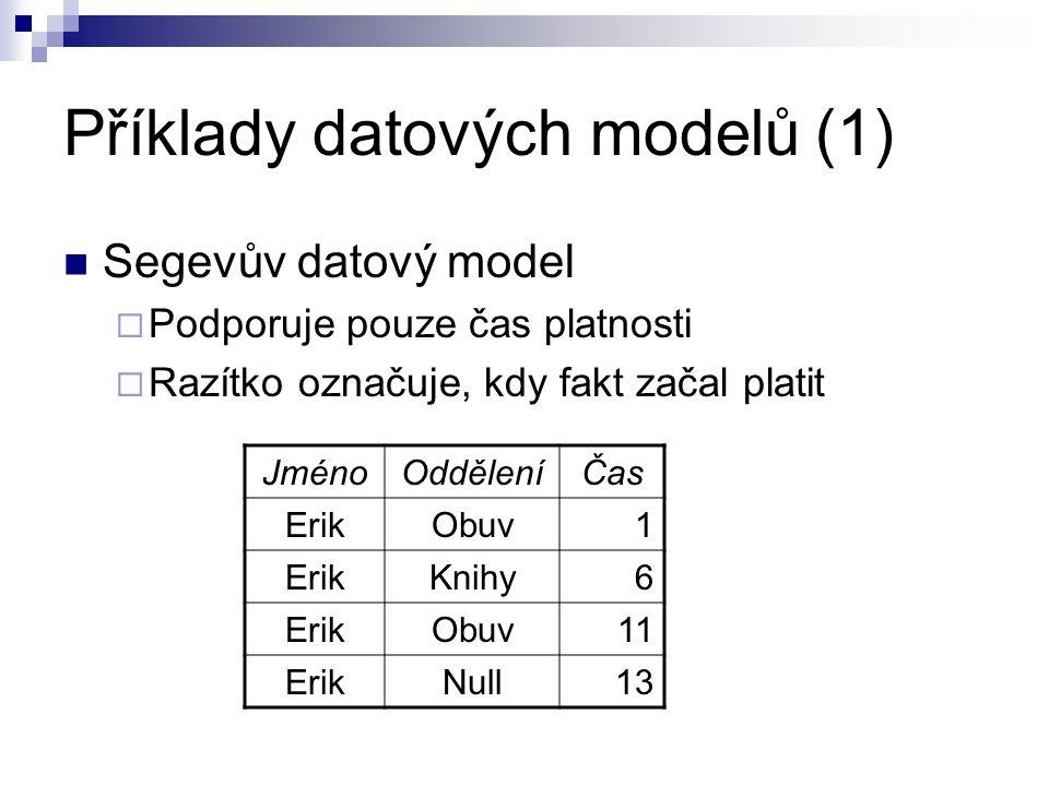 Příklady datových modelů (1) Segevův datový model  Podporuje pouze čas platnosti  Razítko označuje, kdy fakt začal platit JménoOdděleníČas ErikObuv1