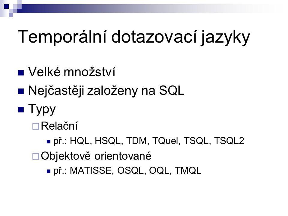 Velké množství Nejčastěji založeny na SQL Typy  Relační př.: HQL, HSQL, TDM, TQuel, TSQL, TSQL2  Objektově orientované př.: MATISSE, OSQL, OQL, TMQL