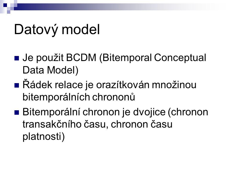 Datový model Je použit BCDM (Bitemporal Conceptual Data Model) Řádek relace je orazítkován množinou bitemporálních chrononů Bitemporální chronon je dv
