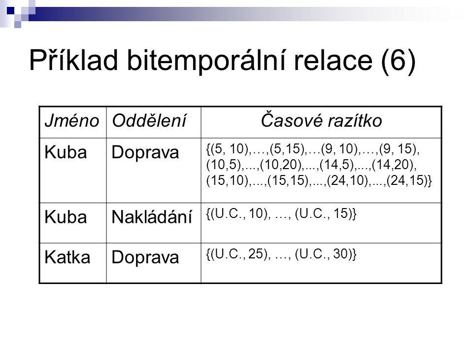 Příklad bitemporální relace (6) JménoOdděleníČasové razítko KubaDoprava {(5, 10), …,(5,15), … (9, 10), …,(9, 15), (10,5),...,(10,20),...,(14,5),...,(1