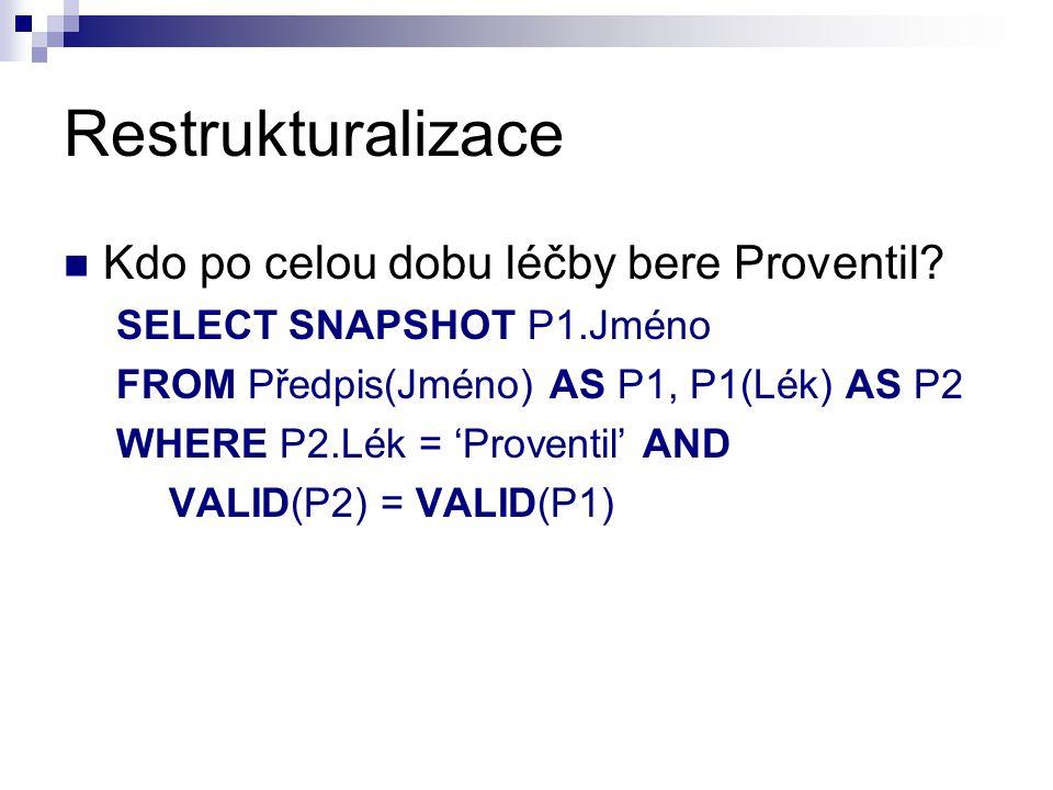 Restrukturalizace Kdo po celou dobu léčby bere Proventil? SELECT SNAPSHOT P1.Jméno FROM Předpis(Jméno) AS P1, P1(Lék) AS P2 WHERE P2.Lék = 'Proventil'