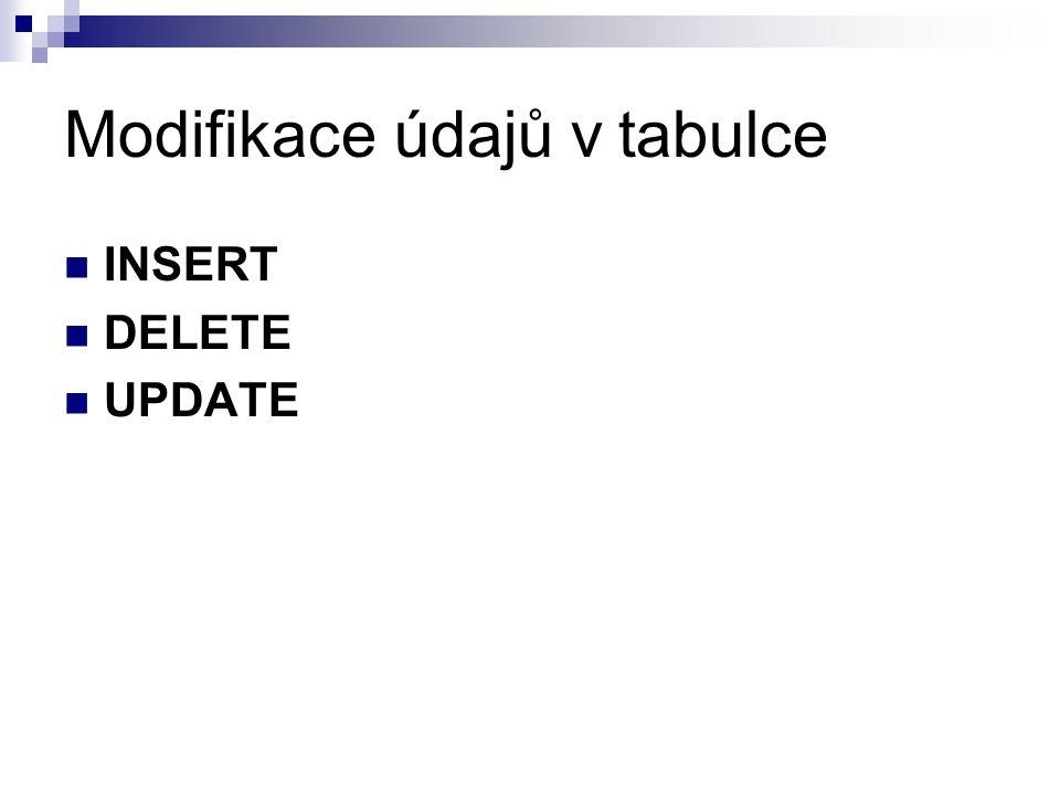 Modifikace údajů v tabulce INSERT DELETE UPDATE
