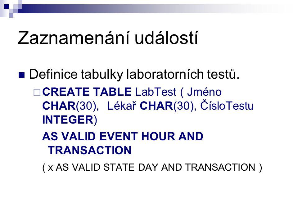 Zaznamenání událostí Definice tabulky laboratorních testů.  CREATE TABLE LabTest ( Jméno CHAR(30), Lékař CHAR(30), ČísloTestu INTEGER) AS VALID EVENT