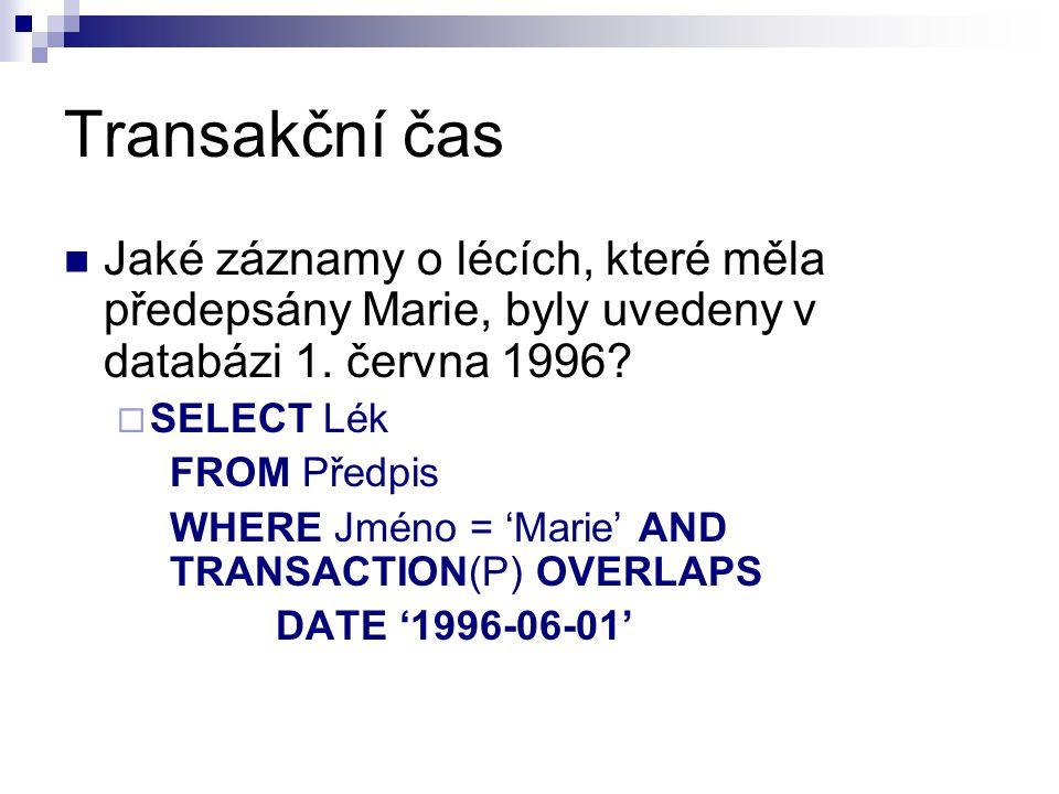 Transakční čas Jaké záznamy o lécích, které měla předepsány Marie, byly uvedeny v databázi 1. června 1996?  SELECT Lék FROM Předpis WHERE Jméno = 'Ma