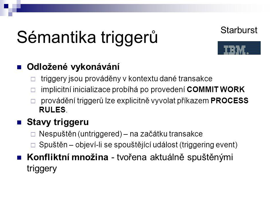 Sémantika triggerů Odložené vykonávání  triggery jsou prováděny v kontextu dané transakce  implicitní inicializace probíhá po provedení COMMIT WORK  provádění triggerů lze explicitně vyvolat příkazem PROCESS RULES.
