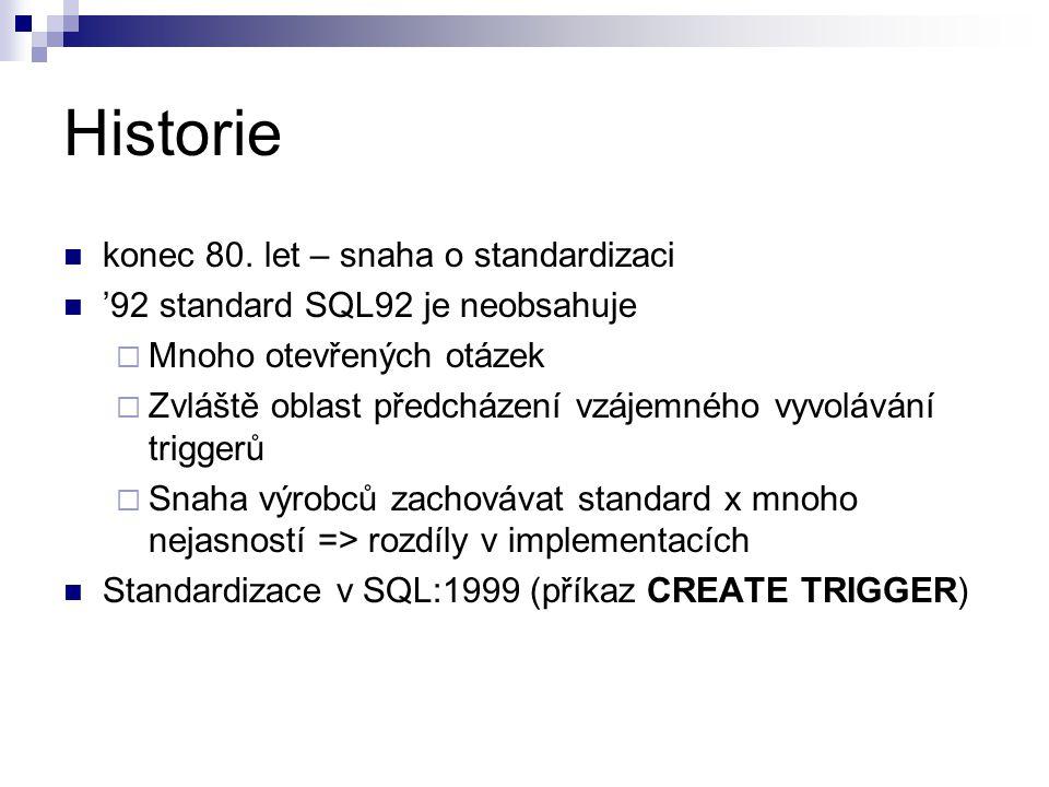 Historie konec 80. let – snaha o standardizaci '92 standard SQL92 je neobsahuje  Mnoho otevřených otázek  Zvláště oblast předcházení vzájemného vyvo