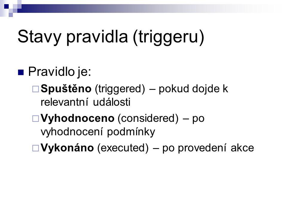Stavy pravidla (triggeru) Pravidlo je:  Spuštěno (triggered) – pokud dojde k relevantní události  Vyhodnoceno (considered) – po vyhodnocení podmínky  Vykonáno (executed) – po provedení akce