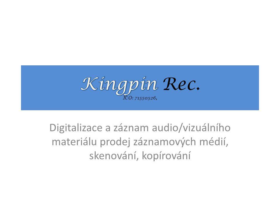 Digitalizace a záznam audio/vizuálního materiálu prodej záznamových médií, skenování, kopírování