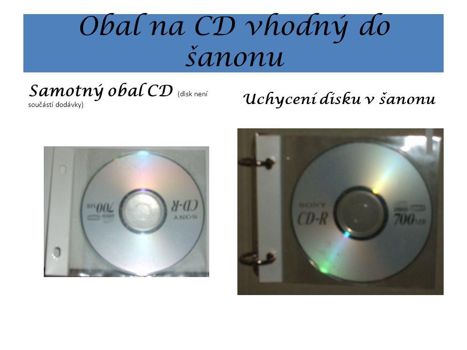 Obal na CD vhodný do šanonu Samotný obal CD (disk není součástí dodávky) Uchycení disku v šanonu