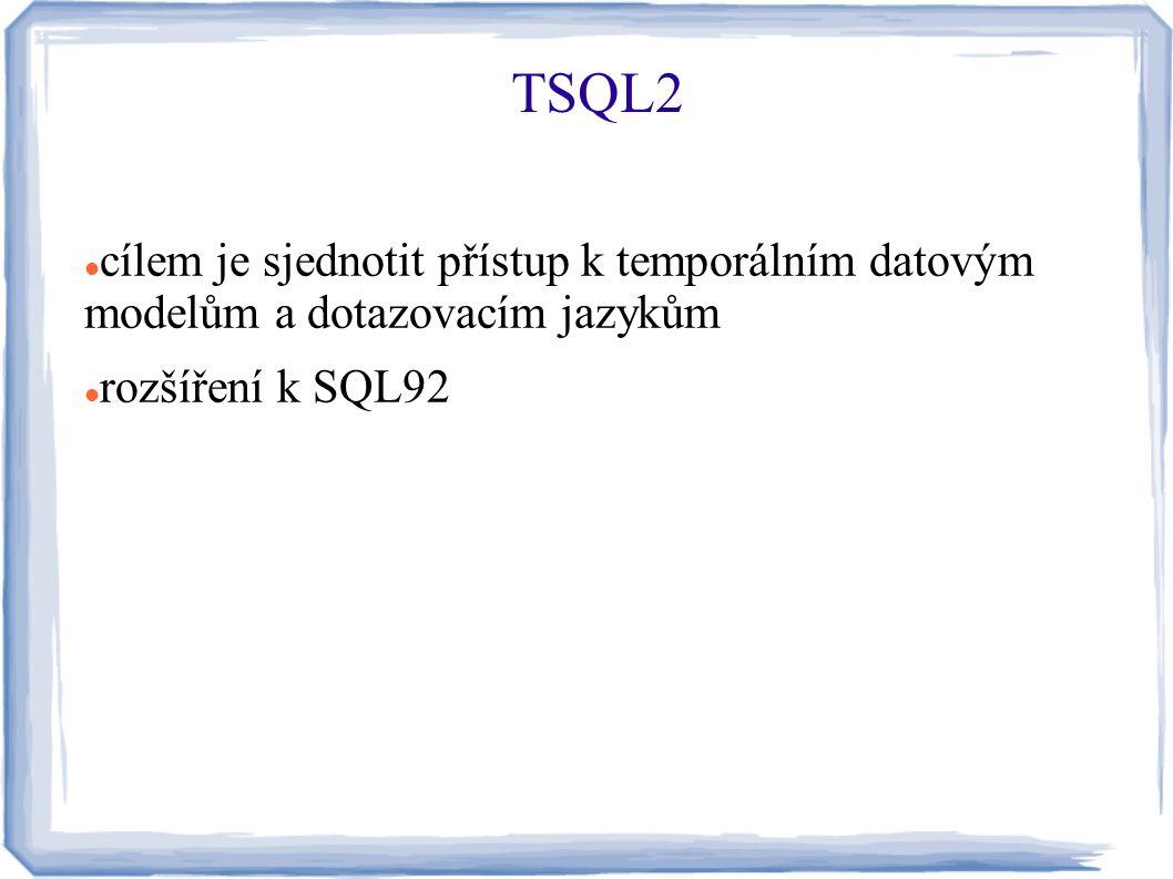 cílem je sjednotit přístup k temporálním datovým modelům a dotazovacím jazykům rozšíření k SQL92 TSQL2