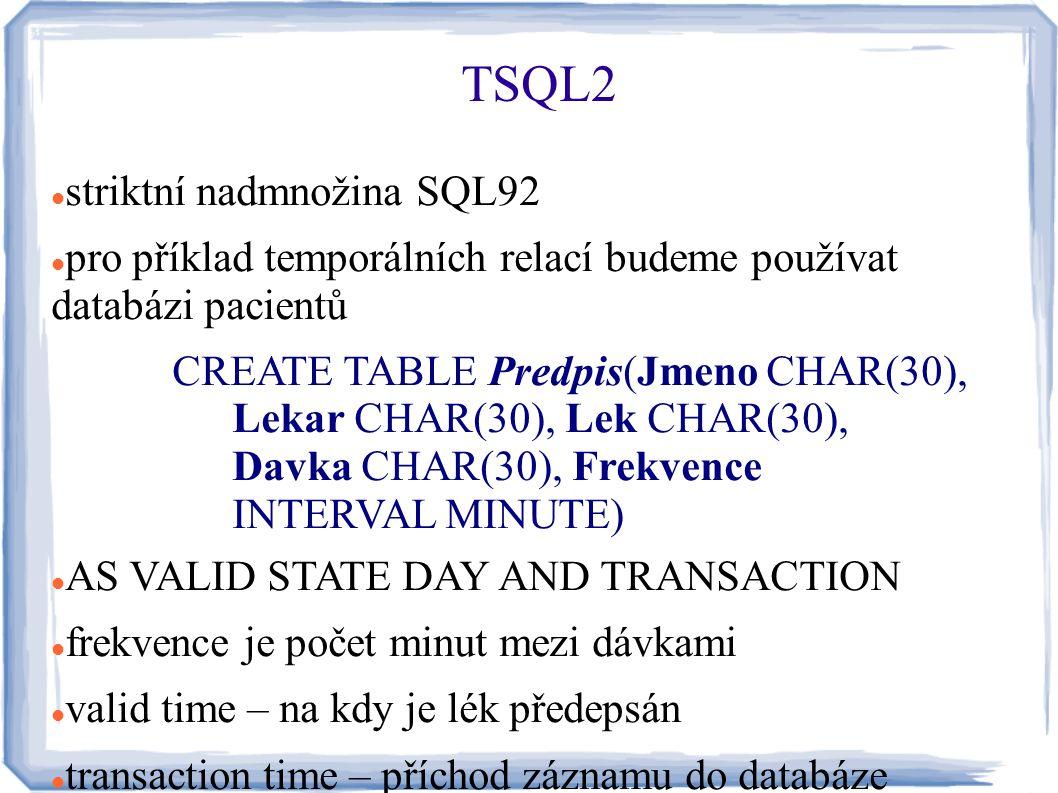 striktní nadmnožina SQL92 pro příklad temporálních relací budeme používat databázi pacientů CREATE TABLE Predpis(Jmeno CHAR(30), Lekar CHAR(30), Lek C