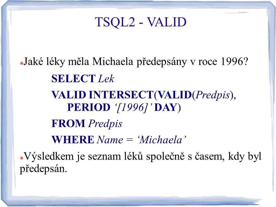 Jaké léky měla Michaela předepsány v roce 1996? SELECT Lek VALID INTERSECT(VALID(Predpis), PERIOD '[1996]' DAY) FROM Predpis WHERE Name = 'Michaela' V