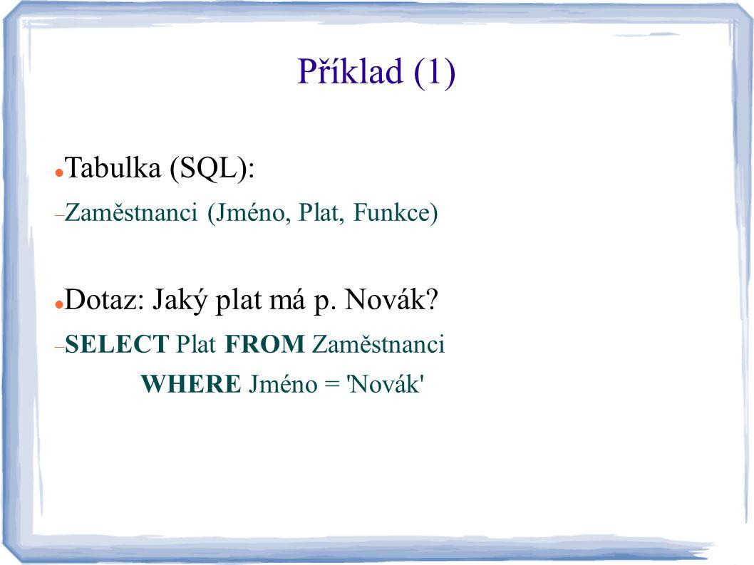 Příklad (1) Tabulka (SQL):  Zaměstnanci (Jméno, Plat, Funkce) Dotaz: Jaký plat má p. Novák?  SELECT Plat FROM Zaměstnanci WHERE Jméno = 'Novák'