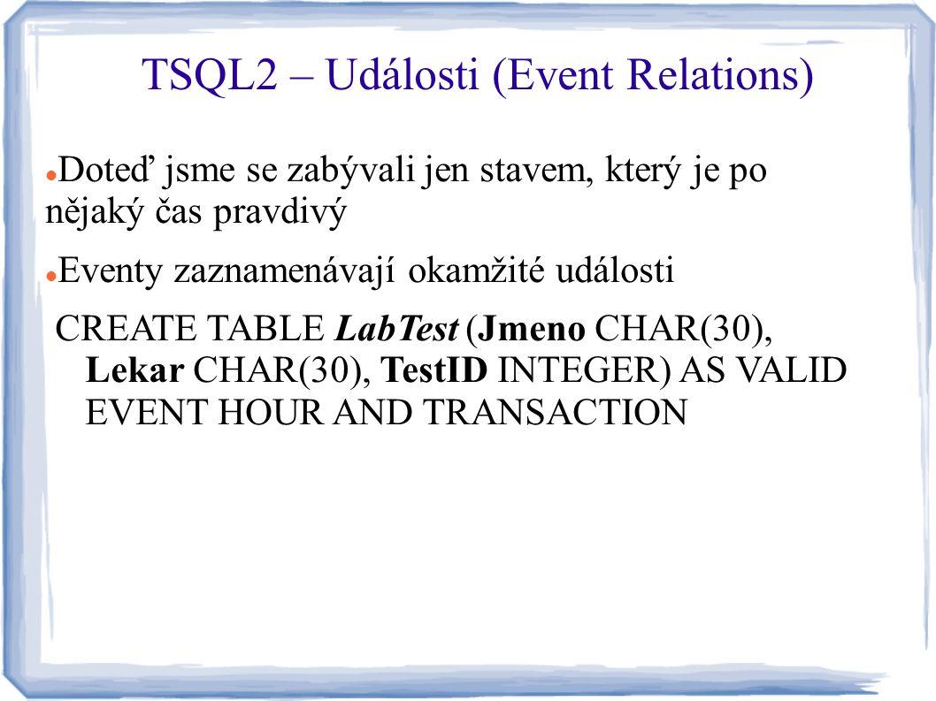 Doteď jsme se zabývali jen stavem, který je po nějaký čas pravdivý Eventy zaznamenávají okamžité události CREATE TABLE LabTest (Jmeno CHAR(30), Lekar