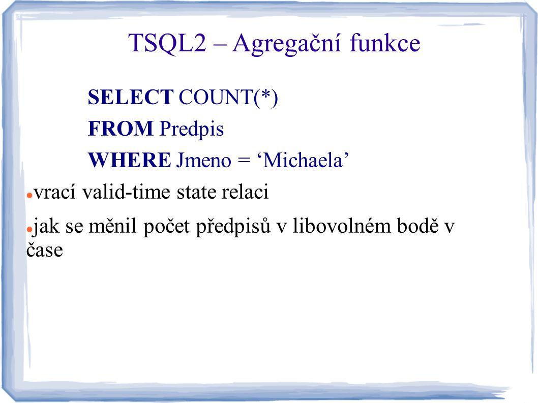 SELECT COUNT(*) FROM Predpis WHERE Jmeno = 'Michaela' vrací valid-time state relaci jak se měnil počet předpisů v libovolném bodě v čase TSQL2 – Agreg