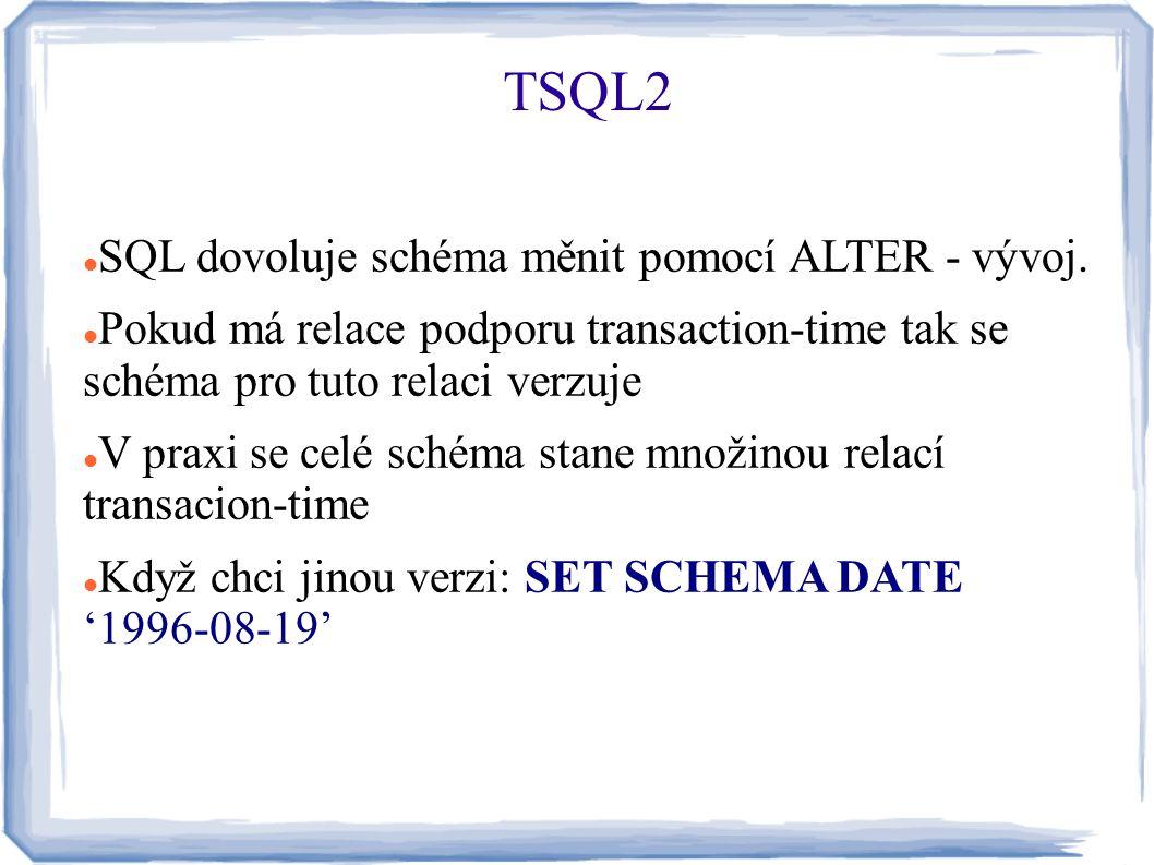 SQL dovoluje schéma měnit pomocí ALTER - vývoj. Pokud má relace podporu transaction-time tak se schéma pro tuto relaci verzuje V praxi se celé schéma