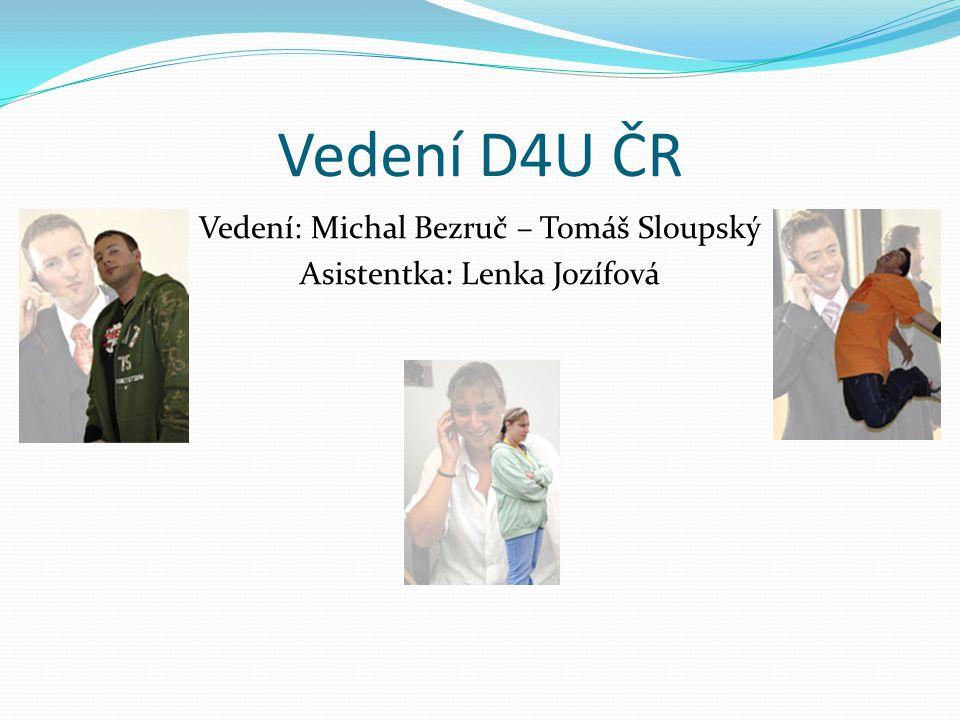 Vedení D4U ČR Vedení: Michal Bezruč – Tomáš Sloupský Asistentka: Lenka Jozífová